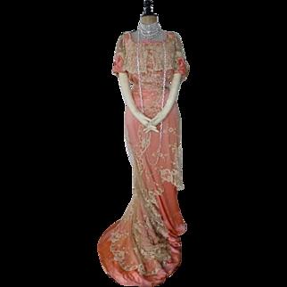 Ball Gown, Antique Evening Gown, Antique Dress, Edwardian Dress, Evening Dress, ca. 1904