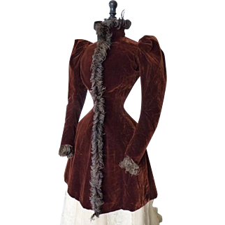 Ostrich Feather Trimmed Jacket, Antique Jacket, Victorian Jacket, ca. 1891