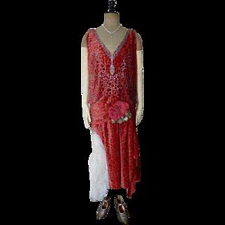 WORTH Dévoré Velvet Evening Dress, Ball Gown, Flapper Dress, Paris, ca. 1926