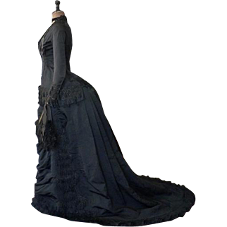 Mourning Gown, Antique Dress, Victorian Gown, ca. 1879