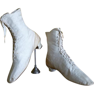 Wedding Cotton Sateen Lace Boots, Antique Boots, Victorian Shoes, ca. 1875