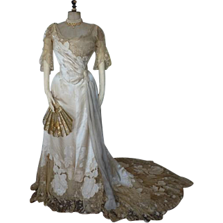 WORTH Evening Gown, House of Worth, antique dress, antique gown, Ball Gown, Paris, ca. 1898