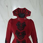 Extravagant Antique Red Jacket, Antique Coat, Antique Cloak, Victorian Coat, Victorian Jacket, ca. 1898