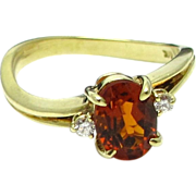 14 Karat Yellow Gold Mandarin Citrine Quartz Ring - Size 6
