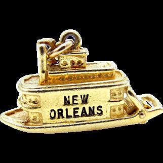 New Orleans Steamboat Pendant 14 Karat Yellow Gold and Black Enamel - 3D