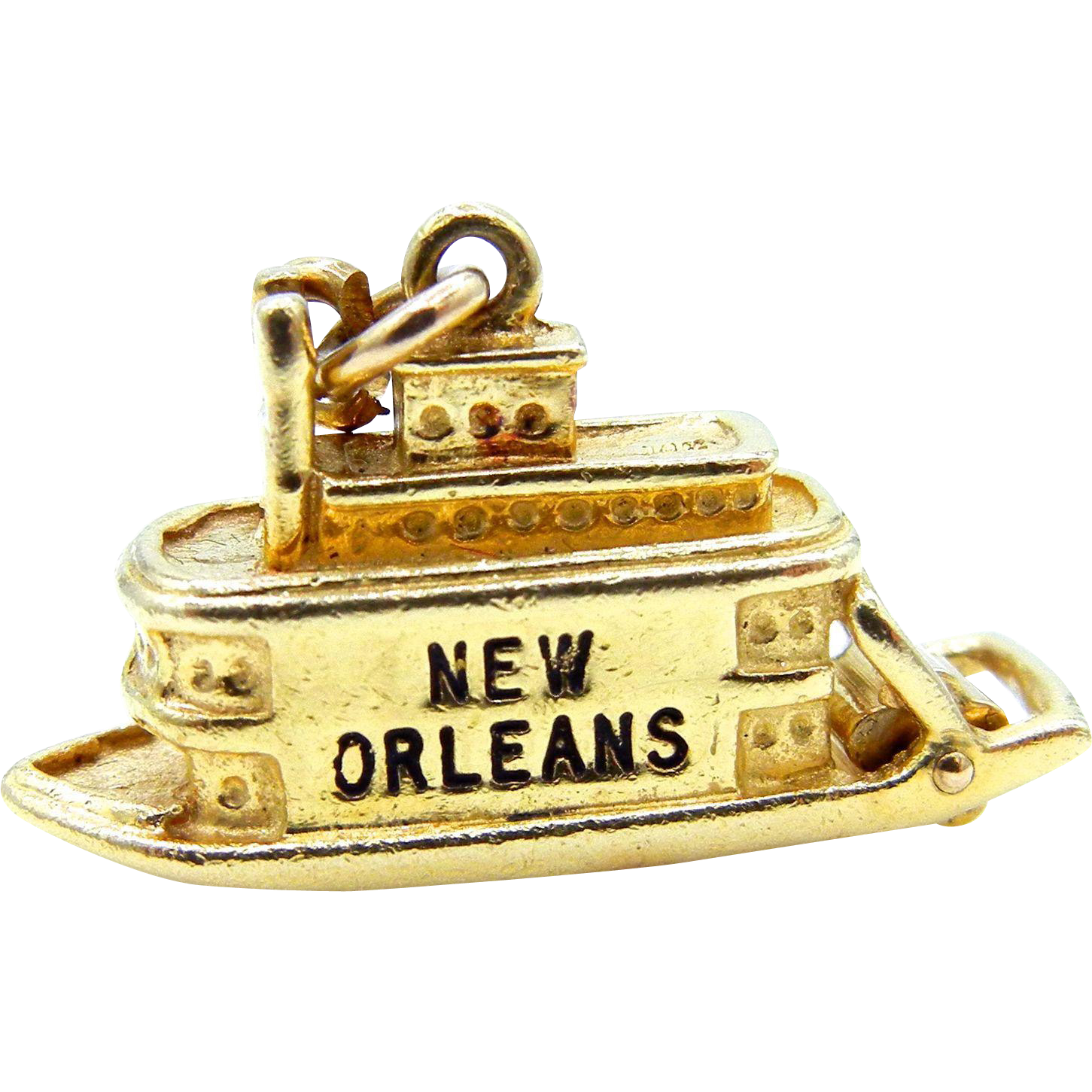New Orleans Steamboat Pendant 14 Karat Yellow Gold and Black Enamel - 3D