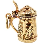 14 Karat Yellow Gold Beer Stein Charm - Movable 3D Pendant
