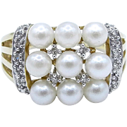 14 Karat Yellow Gold Cultured Pearl and Diamond Ring