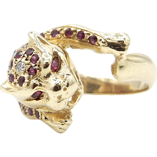 14 Karat Yellow Gold Panther Ruby and Diamond Ring
