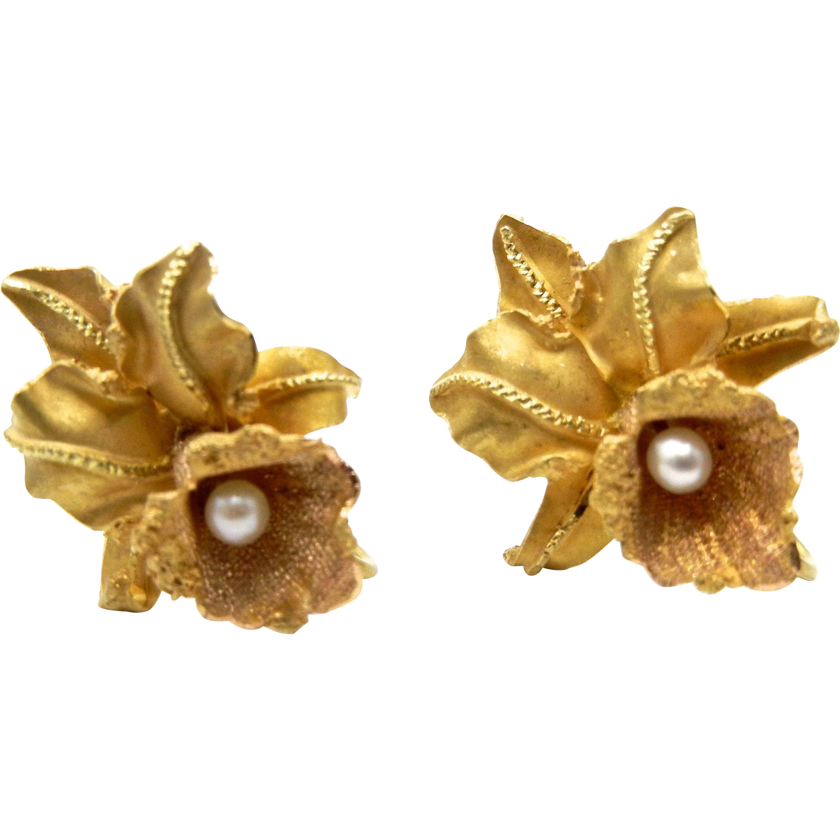 18 Karat Yellow Gold and Cultured Pearls Orchid Earrings