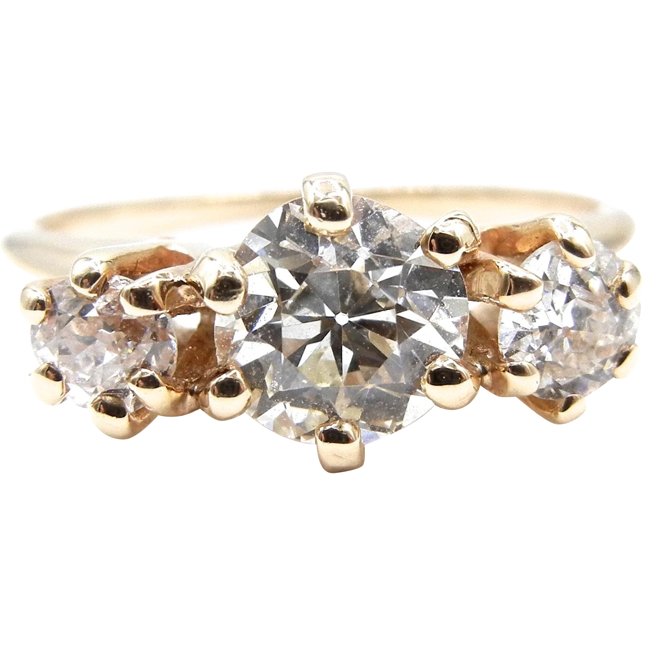 14k Yellow Gold Three Old European Cut Diamond Ring