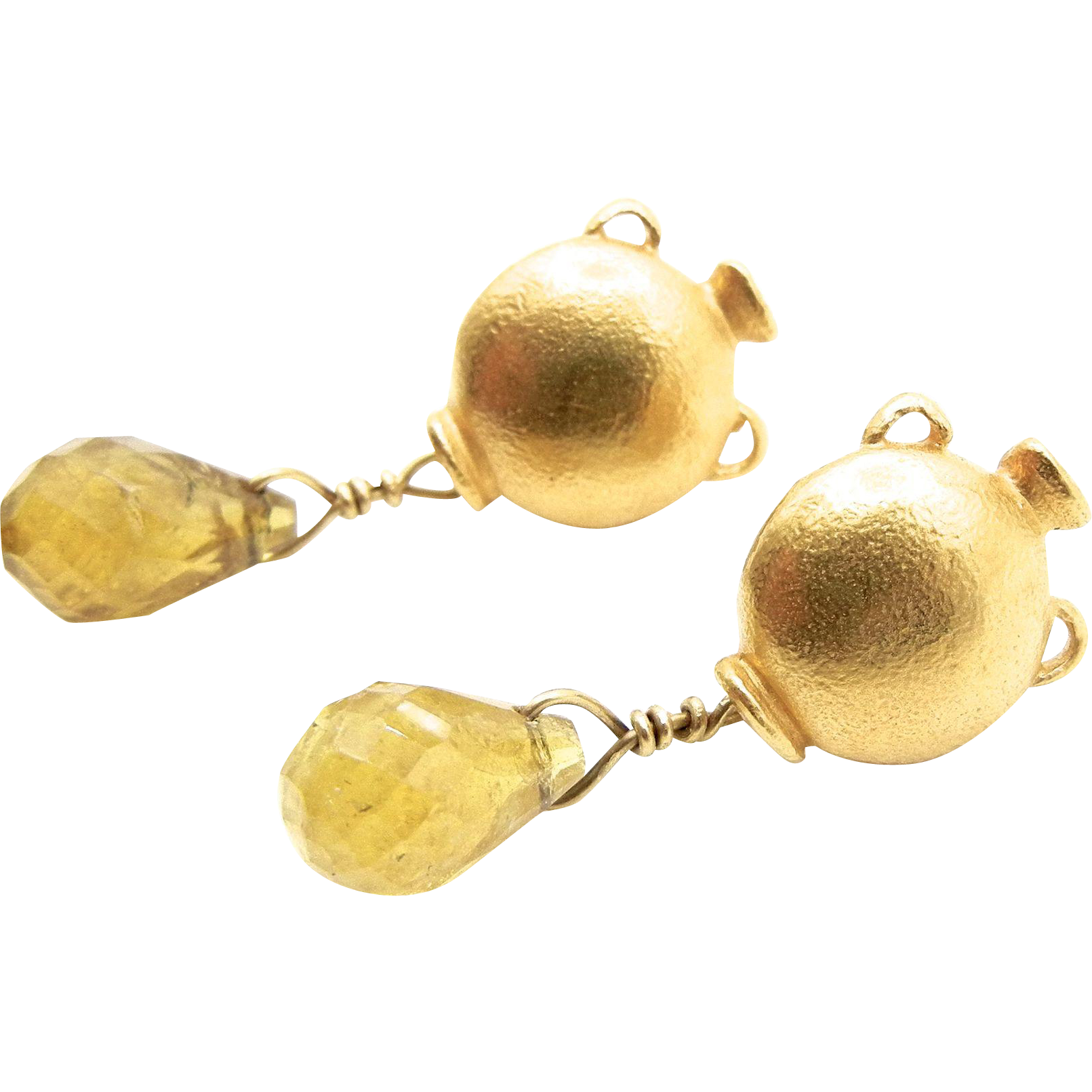 18 karat Yellow Gold Paola Ferro Post Back Golden Tourmaline Earrings