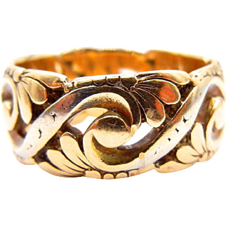 Wide 14karat Yellow Gold Band with Leaf Design