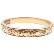 Victorian 14 karat Yellow Gold Floral Band - Size 8.5 - Weight 3.7 Grams - 3 mm - Anniversary - Band - Engagement - Promise # 4420