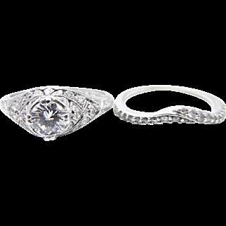Vintage Platinum Diamond Wedding Ring Set