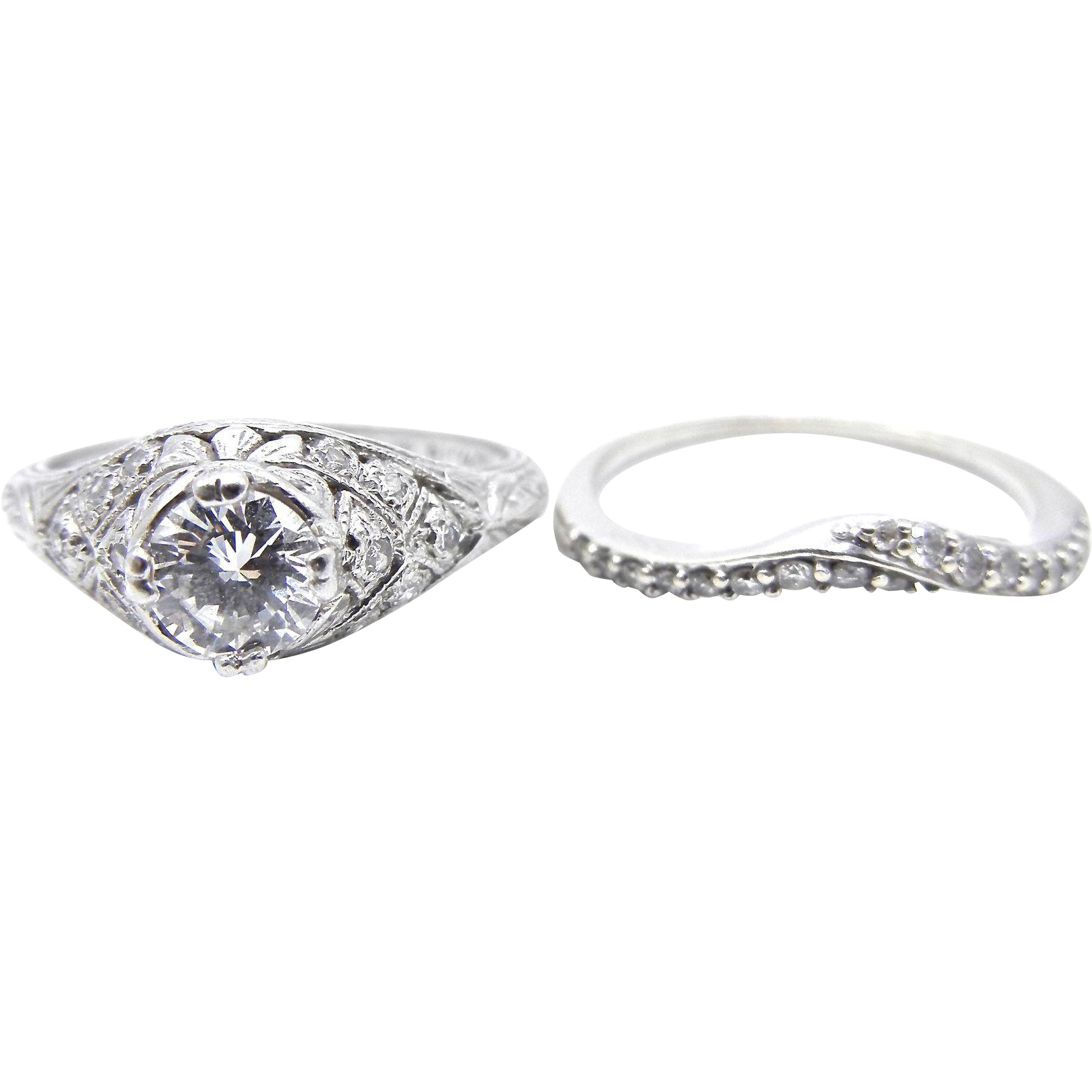 Vintage Platinum Diamond Wedding Ring Set