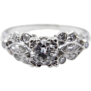 Art Deco Platinum Diamond Wedding Ring