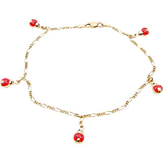 "Vintage Lady Bug Anklet - Solid 14k Yellow Gold, Black and Red Enamel Dangle Lady Bug Anklet - 9.5"" Long"