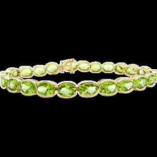 14k Yellow Gold Peridot and Diamond Tennis Bracelet - Oval Green Peridot and Round Diamond - August Birthstone