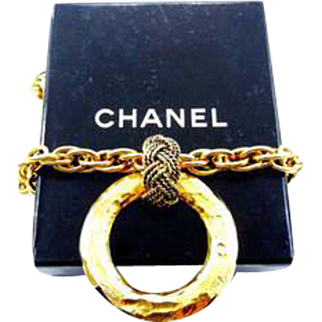 Authentic Chanel Circle Pendant Necklace with Black Chanel Box