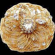 Hattie Carnegie Unique Gold Tone Wire Brooch