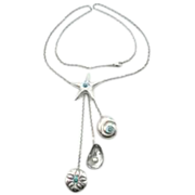 Tiffany & Co Starfish Dangle Drop Triple Seashell Necklace - Sterling Silver, Blue Turquoise and Pearl Pendant