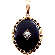 Antique Black Onyx and Old European Cut Diamond Pendant in 10K Yellow Gold - Signed BDA