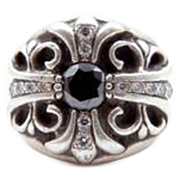 Chrome Hearts Diamond Cross Sterling Silver Ring - Black and White Diamonds