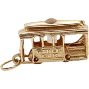 14k Yellow Gold Cable Car Charm Pendant - 3D - Movable