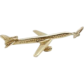 14k Yellow Gold Airplane Pendant Charm - 3D
