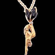 Carrera y Carrera 18K Yellow Gold Onyx Diamond Gold Fairy Pendant - Designer Jewelry