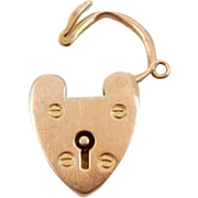 Victorian 15K Yellow Gold Heart Padlock With Keyhole Pendant Charm - Rare