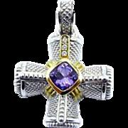 Judith Ripka Diamond Amethyst Cross Pendant Enhancer in 18K Yellow Gold and Sterling Silver