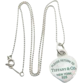 Tiffany & Co Heart Tag Necklace - Sterling Silver Green Enamel Heart - Please Return To Tiffany Heart Dog Tag