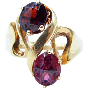 14K Yellow Gold Garnet Ring - Two Oval Pyrope Garnets - Size 6 1/4