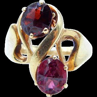 14K Yellow Gold Garnet Ring - Two Oval Pyrope Garnets - Size 6 1/4