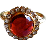 Antique 18K Yellow Gold Garnet Diamond Ring - Rose Cut Stones