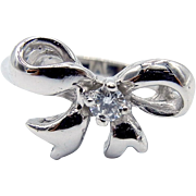 14 Karat White Gold and Diamond Bow Ring - Knuckle Ring