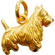 Terrier Scottie Dog Charm Pendant in 18K Yellow Gold