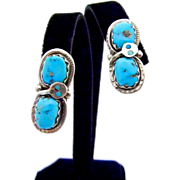 Effie C Zuni Large Snake Turquoise Earrings - Old Pawn
