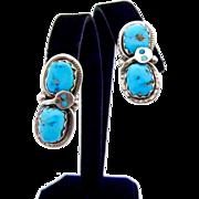 Effie C Zuni Large Snake Turquoise Earrings - Old Pawn