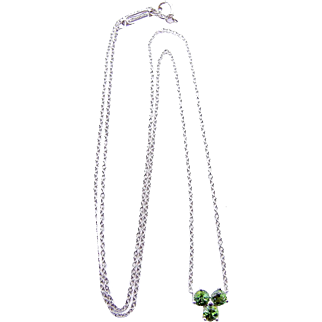 Tiffany & Co. Aria Pendant Necklace Triad of Green Tourmalines in 18 Karat White Gold