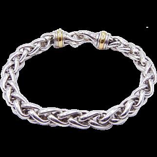 "David Yurman Large Wheat Chain Bracelet with 18K Yellow Gold - 9"" Long - 7 mm - Gentleman's Bracelet"