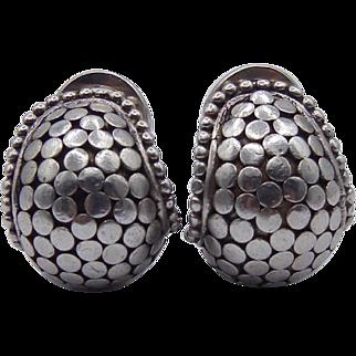 John Hardy Dot Buddha Belly Earrings in Sterling Silver Clip on