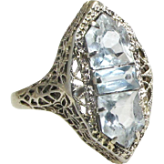 14 Karat White Gold Blue Topaz Art Deco Filigree Ring
