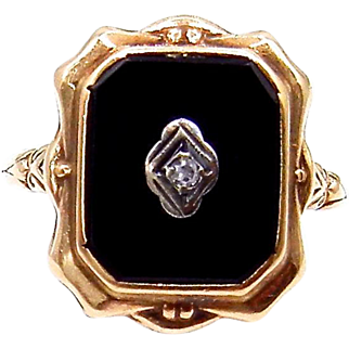10 Karat Yellow Gold Black Onyx and Diamond Ring - Mourning Jewelry