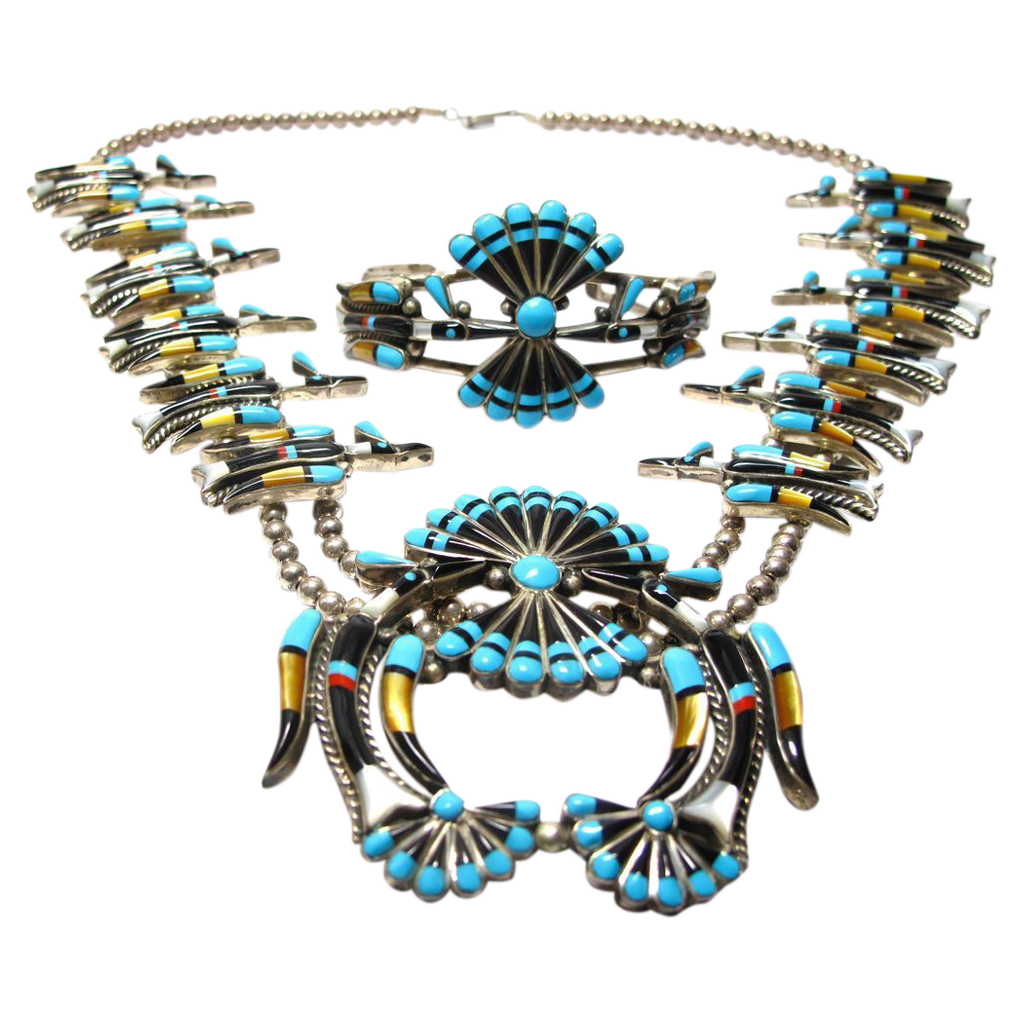 Southwestern Inlaid Peyote Water Bird Squash Necklace and Cuff Bracelet 2pc Set