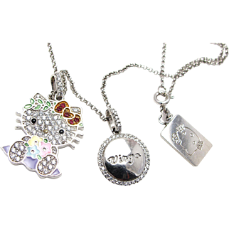 Hello Kitty Zodiac Sterling Silver Rhinestone Enamel Necklace Pendant with Adjustable Chain, Virgo and Hello Kitty Tags