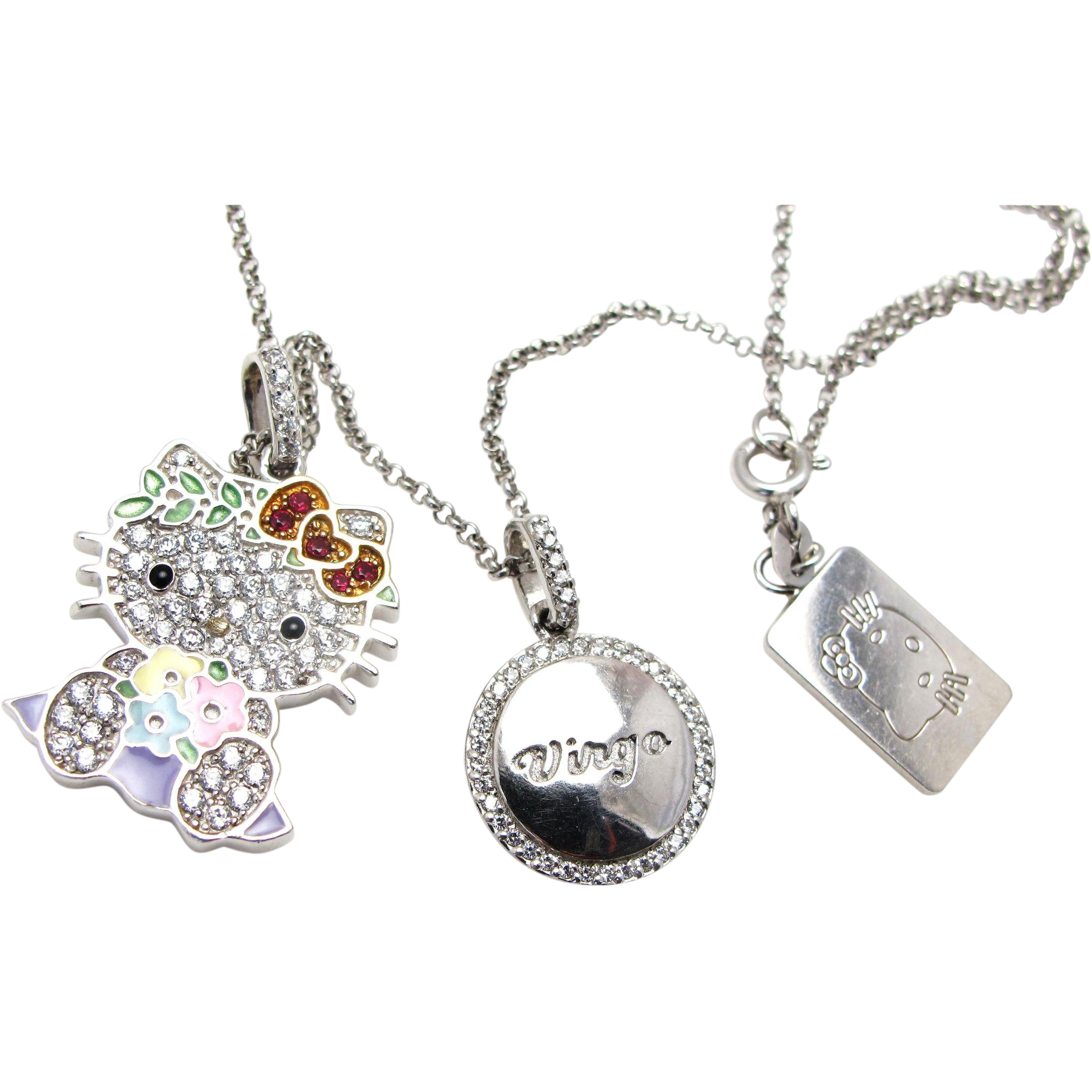 Hello Kitty Zodiac Sterling Silver Cubic Zirconia and Enamel Necklace
