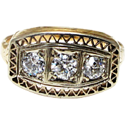 Edwardian 14k Yellow Gold Three Diamond Ring - Old European Cut